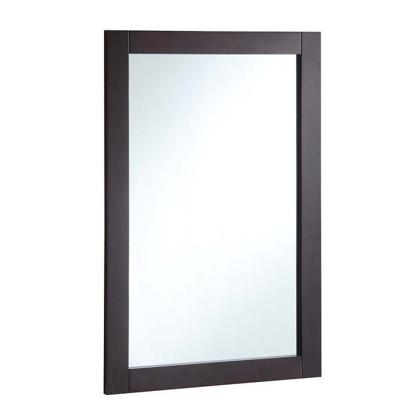"Design House 547075 20"" Wall Mounted Mirror with Wooden Frame and Plain Glass Edge - Espresso"