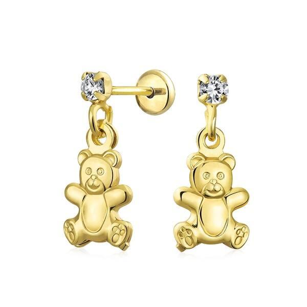 Teddy bear multicolor silver tone earrings