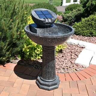 Sunnydaze Modern Solar Birdbath Outdoor Water Fountain 36 Inches Tall & Panel