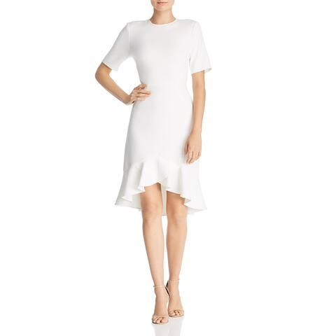 Shoshanna Womens Alessia Flounce Dress Crepe Elbow Sleeve - White