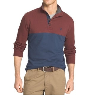 IZOD NEW Red Blue Mens Size XL Colorblock Henley Long Sleeve Sweater