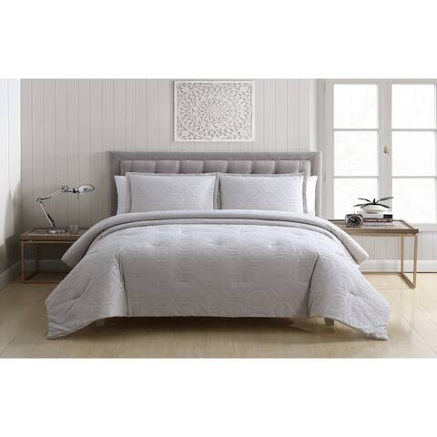 Clifton Farmhouse Oversized Cotton Clipped Polygon Comforter Set