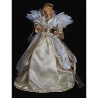 """12"""" White and Gold Colored Graceful Angel Christmas Tabletop Figure"""