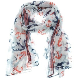 Women's Lightweight Sheer Soft Anchors Print Scarf