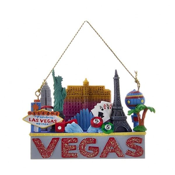 "2.75"" Glittered US City Travel Vegas Hanging Christmas Ornament"