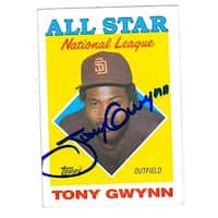Tony Gwynn Autographed Baseball Card San Diego Padres 1988 Topps