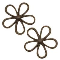 Vintaj Natural Brass Beaded Flower Pendant Connector 24mm (2)