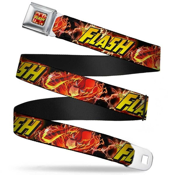 The Flash Charge Full Color The Flash Super Charged Running Pose Webbing Seatbelt Belt