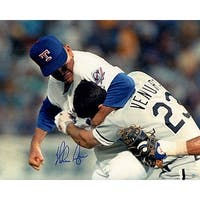Nolan Ryan signed Texas Rangers 16x20 Photo Fight vs Ventura Steiner Hologram