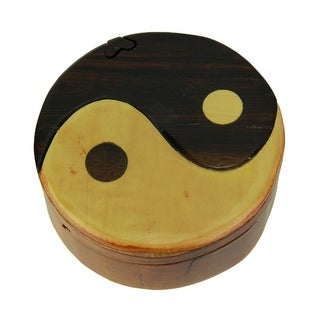 Hand Crafted Wood Yin Yang Puzzle Trinket Box - 2 X 4.5 X 4.5 inches