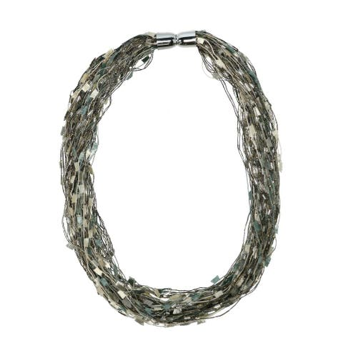 CTM® Women's Multi-Silver Layered Scarf Necklace with Magnetic Closure - one size