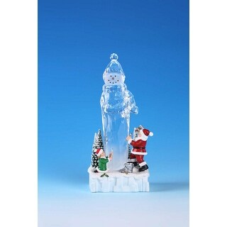 Pack of 4 Icy Crystal Illuminated Christmas Snowman Ice Sculpture Figurines 9""