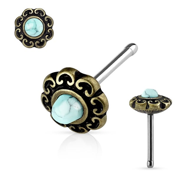 Turquoise Center Tribal Heart Filigree Antique IP Top Surgical Steel Nose Stud Ring-20GA (Sold Ind.)