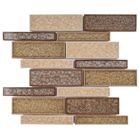 TileGen. Roman Art Mario Random Sized Ceramic in Beige/Brown Wall Tile (10 sheets/10.6sqft.)