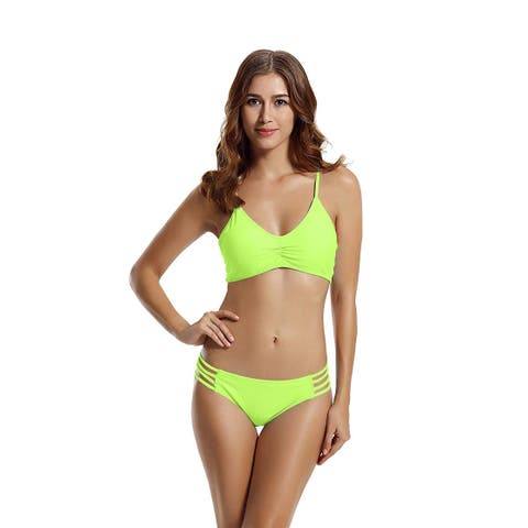 zeraca Women's Strap Side Bottom Halter Racerback Bikini, Lime Punch, Size 2.0 - 2