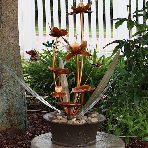Sunnydaze Copper Flower Blossoms Outdoor Garden Water Fountain - 28-Inch