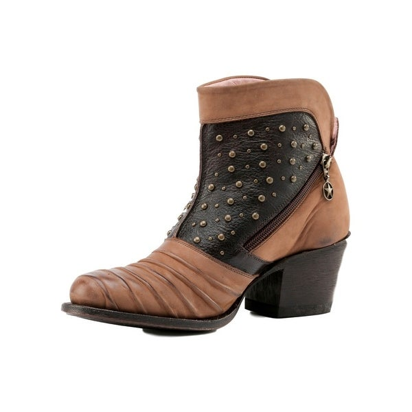 Miss Macie Fashion Boot Women Piper Ribbed Dual Zippers Brown