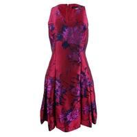 Tommy Hilfiger Women's Floral Jacquard Fit & Flare Dress - Red Floral