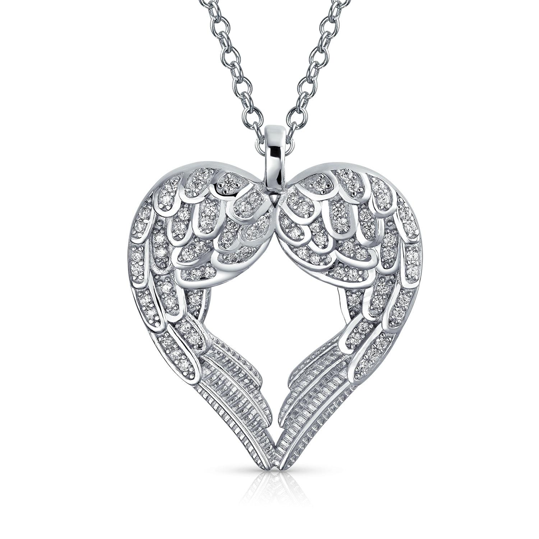 925 Sterling Silver Heart Angel Wings Pink Cubic Zirconia Cz Pendant Charm