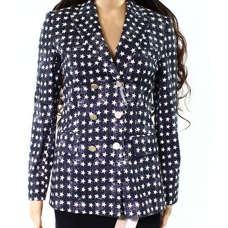 Max Mara NEW Blue Womens Size 2 Star-Printed Double-Breasted Jacket