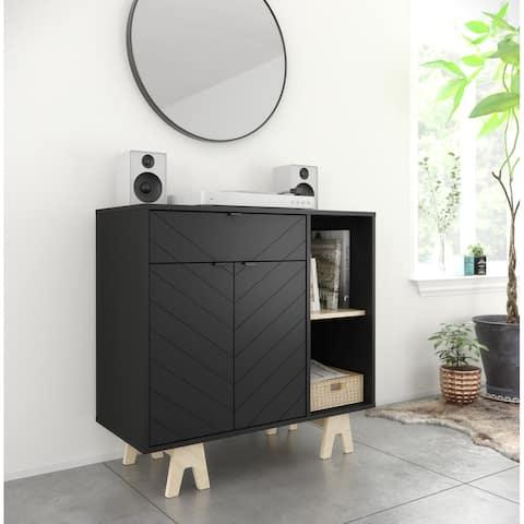 Nexera Gossip Sideboard, Black and Russian Birch Plywood