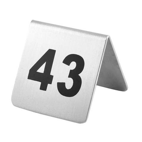 Restaurant Stainless Steel Free-standing Number 43 Table Sign Black Silver Tone