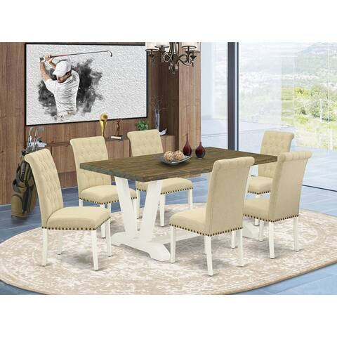Dinette Set - Kitchen Table and Linen Fabric Parson Chairs with Nail Heads (Number of Chair and Bench Option)