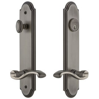 """Grandeur ARCPRT_TP_ESET_238_LH  Arc Solid Brass Tall Plate Single Cylinder Keyed Entry Set with Portofino Lever and 2-3/8"""""""