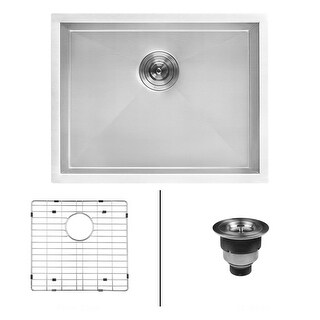 Ruvati RVU6100 Nesta Single Basin Kitchen Sink with Basin Rack and Basket Strainer - STAINLESS STEEL