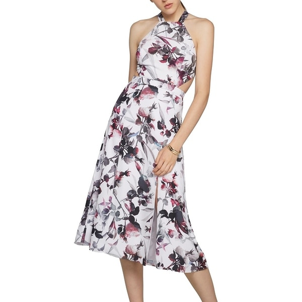 Fame and Partners NEW White Women's Size 4 Sheath Floral Cutout Dress