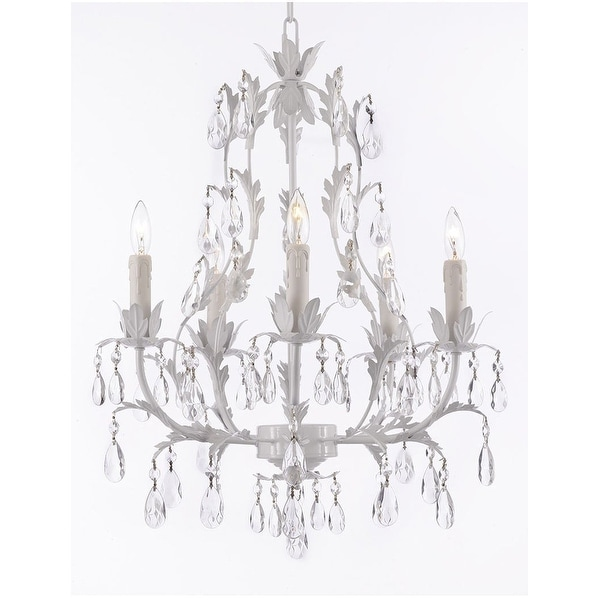 White Wrought Iron Floral Crystal Chandeliers