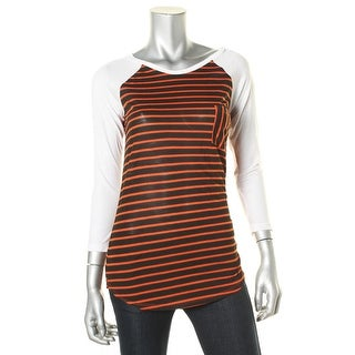 RVCA Womens Juniors Stevie Striped Colorblock Baseball Tee