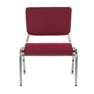 Offex 1500 lb. Rated Burgundy Antimicrobial Fabric Bariatric Chair with 3/4 Panel Back and Silver Vein Frame