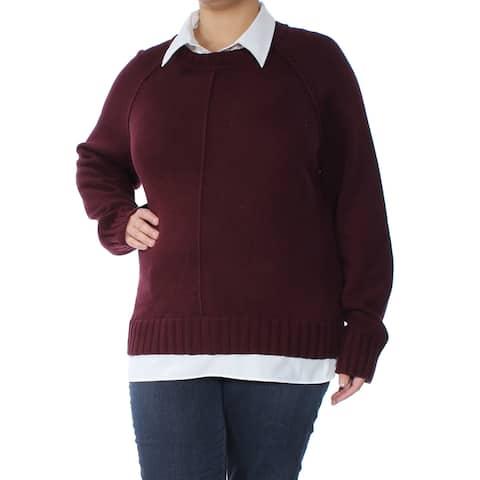 RALPH LAUREN Womens Red Long Sleeve Collared Sweater Plus Size: XXL