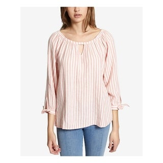SANCTUARY Womens Pink Striped 3/4 Sleeve Keyhole Peasant Top  Size S