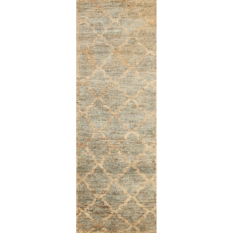 """Distressed Trellis Moroccan Oriental Runner Rug Hand-knotted Carpet - 2'5"""" x 7'11"""""""