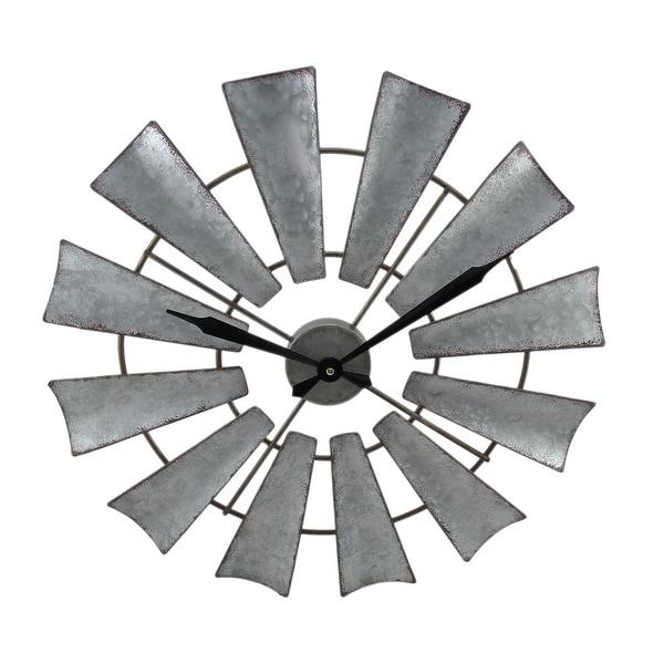 Shop Rustic Distressed Metal Windmill Wall Clock 22 Inch