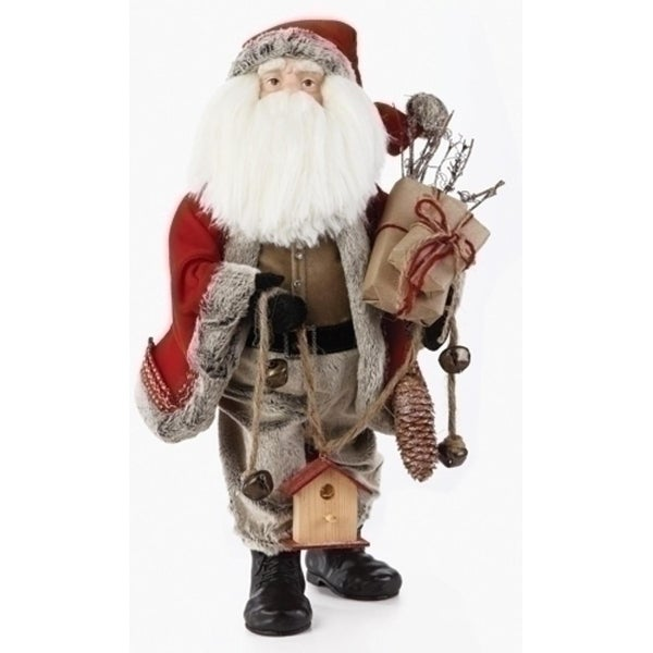 "20"" Traditional Woodland Santa Claus Christmas Figure with Birdhouse and Gifts"