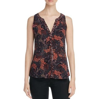 Sanctuary Womens Button-Down Top Paisley Printed Sleeveless