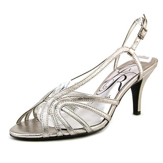 J. Renee Evra Women W Open Toe Leather Silver Sandals