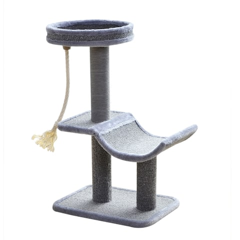 Catry Cat Tree Cradle Bed with Natural Sisal Scratching Posts and Teasing Rope for Kitten, Gray