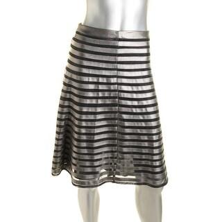 CATHERINE CATHERINE MALANDRINO Womens Gracie Below Knee Striped Flare Skirt - 0