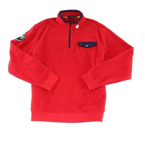 Polo Ralph Lauren Men Sweater Red Size Large L 1/2 Zip Pullover Fleece