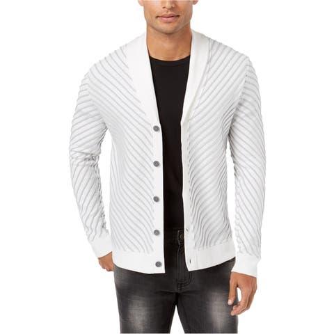 I-N-C Mens Textured Cardigan Sweater