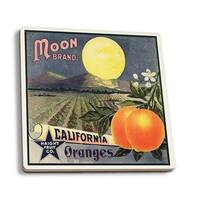 Moon Brand - CA - Citrus Crate - Vintage Label (Set of 4 Ceramic Coasters)