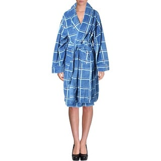 Intimo Womens Fleece Plaid Wrap Robe - o/s