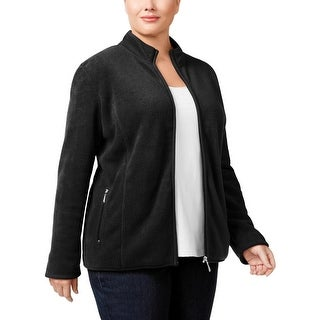 Karen Scott Womens Plus Fleece Jacket Zip Front Pocketed