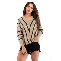QZUnique Women Striped Sweater Batwing Sleeve Jumpers Winter Pullover