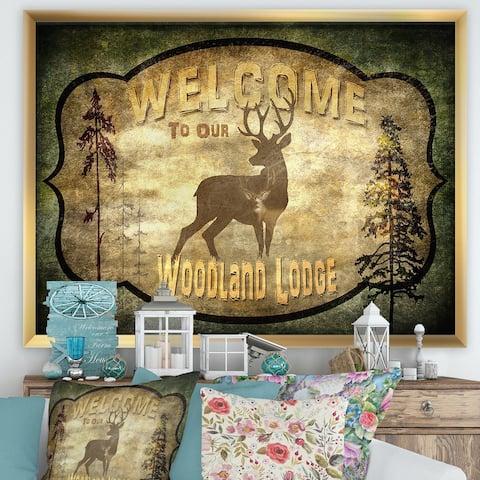 Designart 'Welcome_Lodge Deer' Cottage Framed Art Print