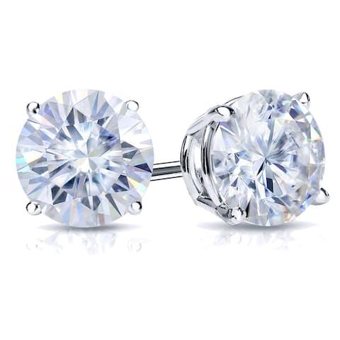 Auriya Platinum 3 1/2ctw Round Moissanite Stud Earrings - 7.8 mm